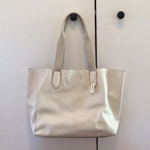 Off white soft leather coach tote